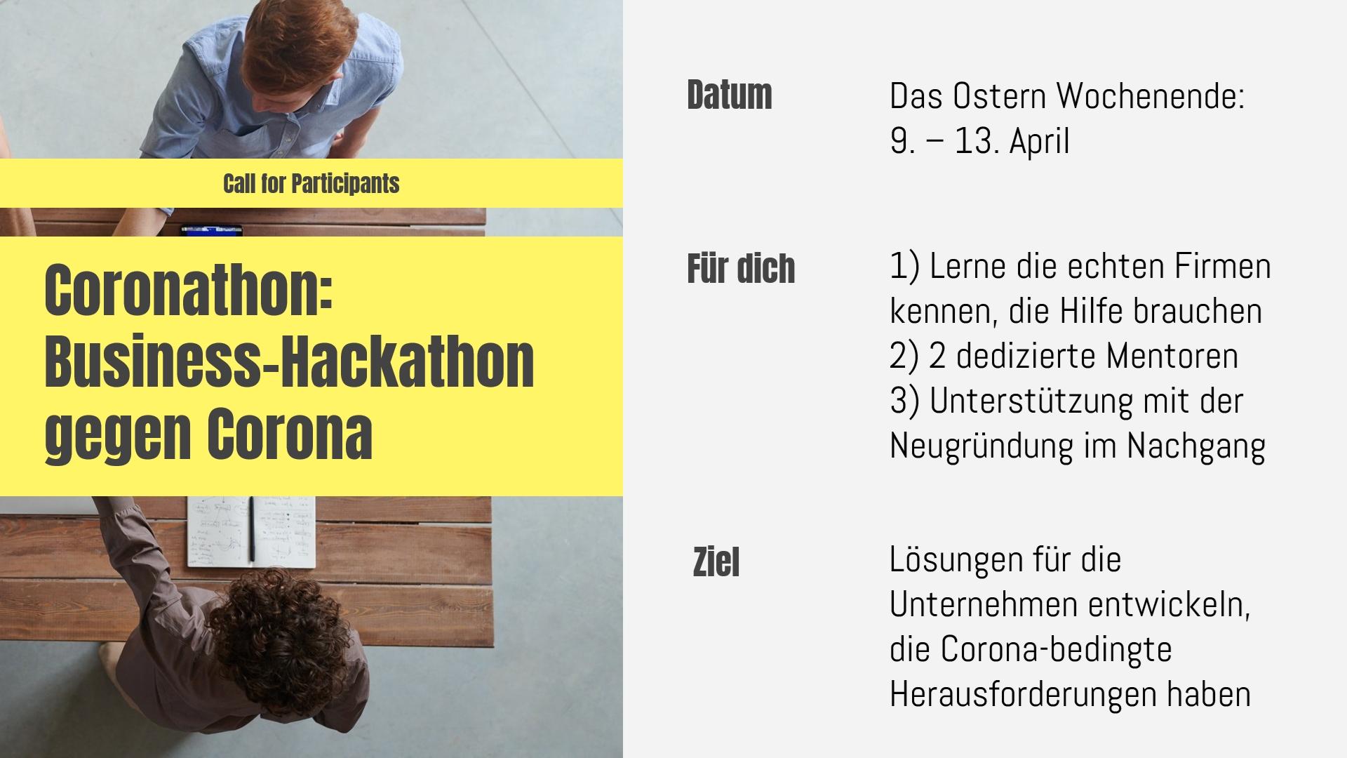 Coronathon: Business-Hackathon gegen Corona